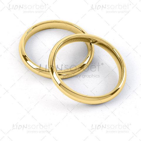 2 Wedding Rings in Yellow Gold - WP022