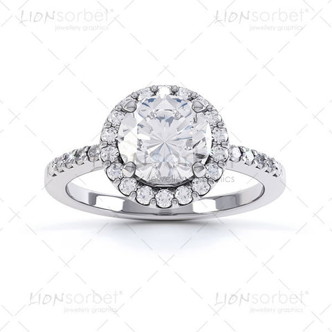 semi set diamond halo ring