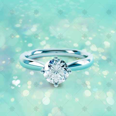 4 Claw Round Diamond Ring Aqua - CJ033