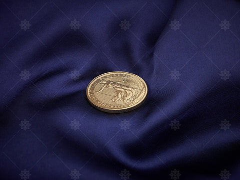 1oz Gold Bullion Coin on Blue Silk - BUL1001