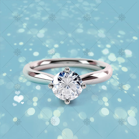 4 Claw Round Diamond Ring Blue - CJ035