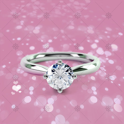 4 Claw Round Diamond Ring Pink - CJ036