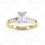 Emerald Diamond Ring with Set Shoulders - E1004