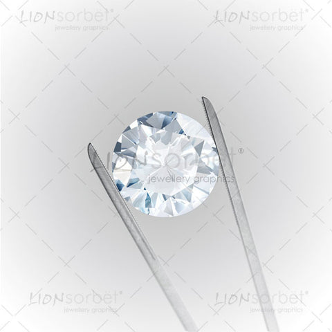 Diamond with tweezers on white