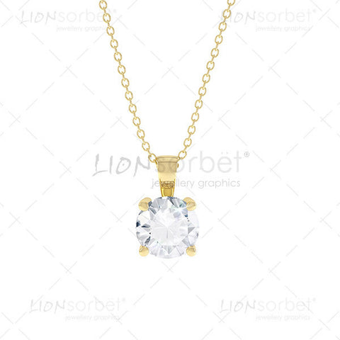 Front View of a Yellow gold diamond pendant image