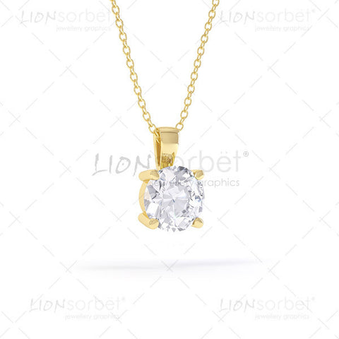 Diamond Pendant Image in Yellow Gold - P006