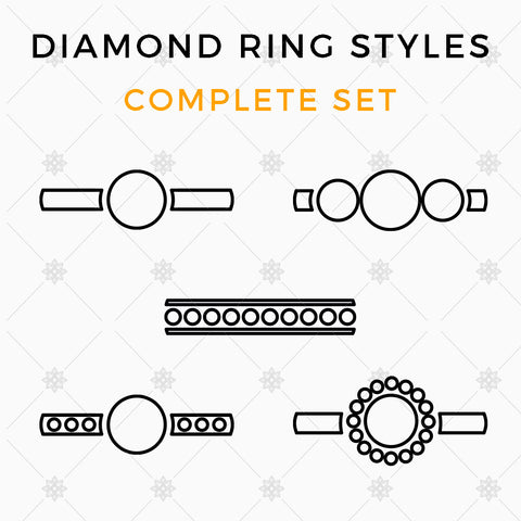Diamond Ring Styles Vector Illustrations - MP024