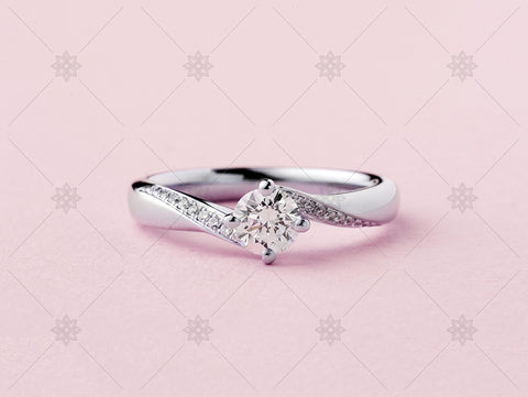 Pink Diamond Set Shoulder Ring - MJ1033b
