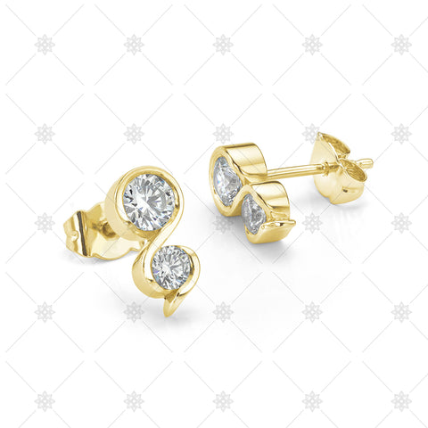 Two Stone Diamond Earrings - ED1001B