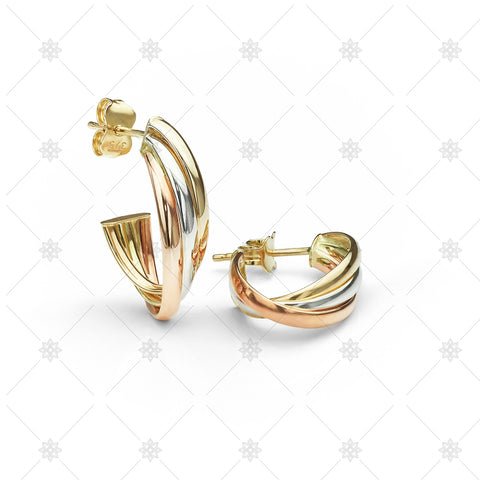 Tri Colour Gold Hoop Earrings - ED1004