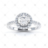 Halo Cluster Ring with Side Stones - ER1001