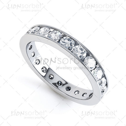 Diamond Eternity wedding ring, channel set diamonds