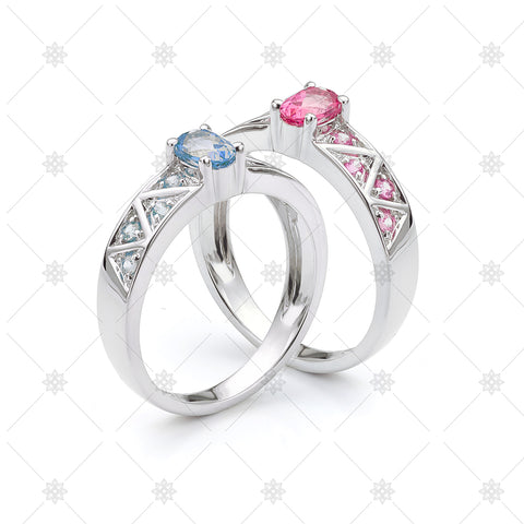 Gemstone Rings Pair - GS1015