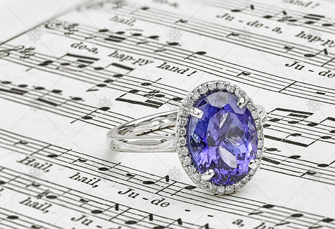 Tanzanite Halo Ring with Diamond accents - GS1002