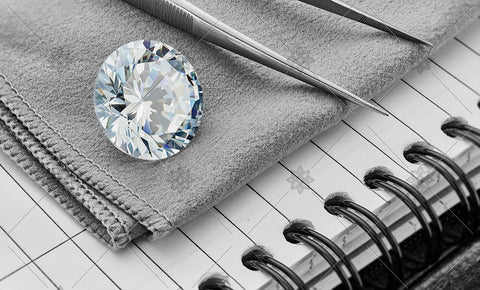 Round Diamond on Grey cloth  - MJ1048