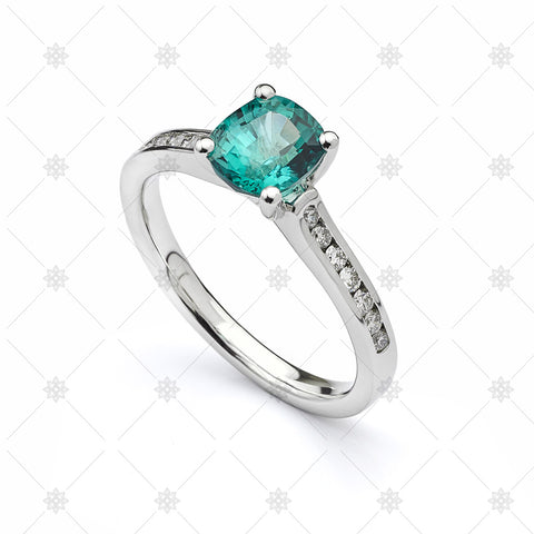 Blue Green Sapphire Cushion Ring - JG4023