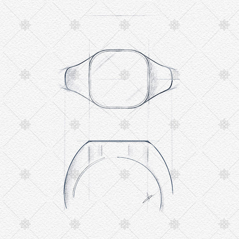 Cushion Signet Ring Sketch- JG4026