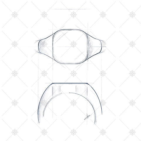 Cushion Signet Ring Sketch- JG4027