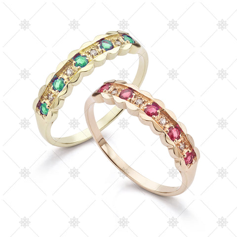 Ruby and Emerald Eternity Rings - JG4033