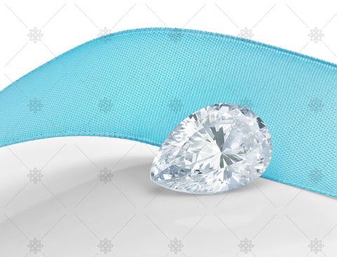 Pear cut diamond with blue ribbon - JG4036