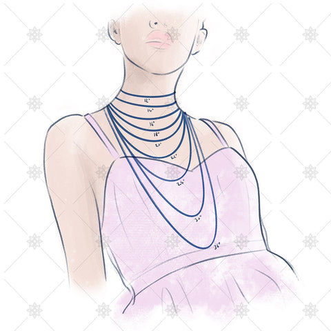 Necklace length illustration inches  - JG4059