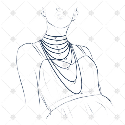 Necklace length illustration inches  - JG4061