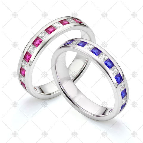 Blue and Pink Sapphire Wedding Rings- JG4068