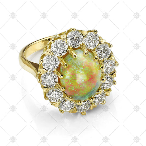 Gold Opal & Diamond Ring - JG4070