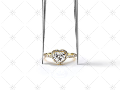 Heart Shaped Diamond Halo Ring in Tweezers - JG4071