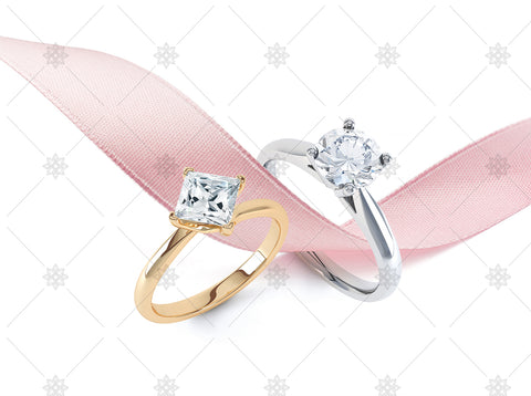 Diamond rings with pink ribbon - JG4077
