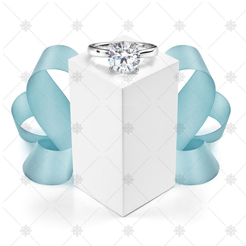 Solitaire Diamond Engagement Ring with Blue Ribbon - JG4085