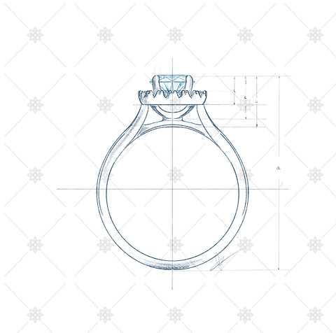 Solitaire Diamond Ring Sketch with measurement guides - JG4087