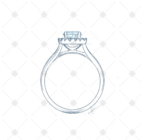 Solitaire Diamond Ring Sketch Side Profile - JG4088