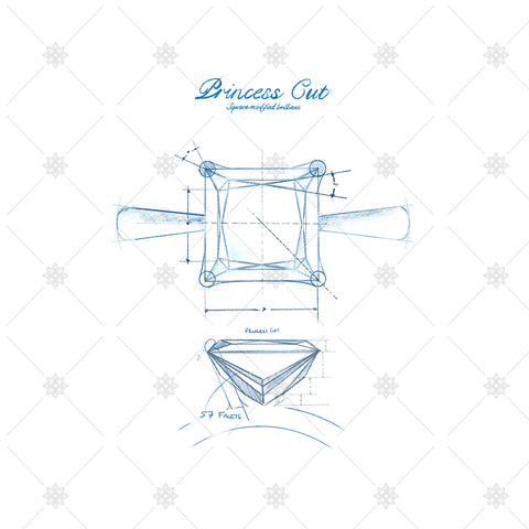 Princess Cut Diamond Ring Sketch - JG4089
