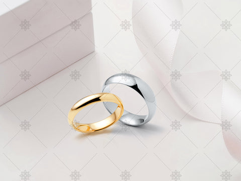 Plain Wedding Bands with Ribbon Pink- JG4094