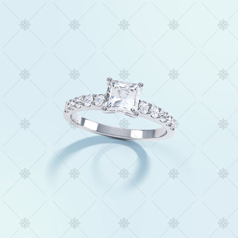 Princess Diamond Ring Top View - LS1002