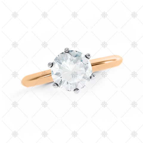 Round Solitaire Top View Rose Gold - LS1004