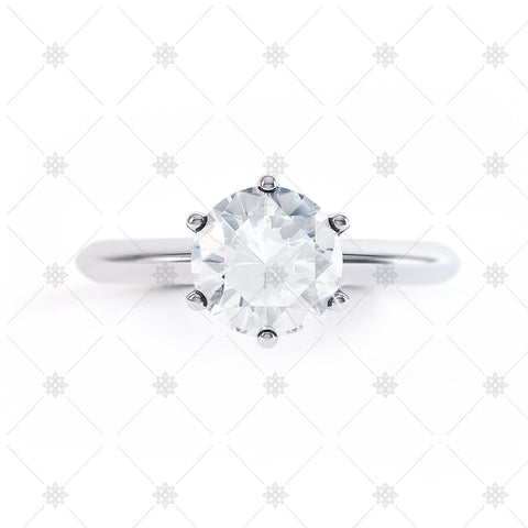 Round Solitaire Top View White Gold - LS1004
