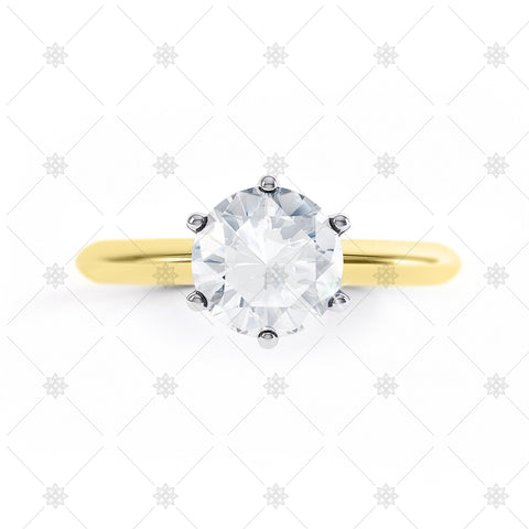 Round Solitaire Top View Yellow Gold - LS1004