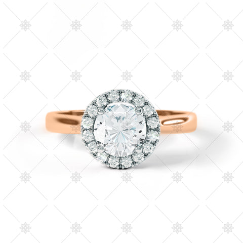 Diamond Halo Cluster Ring Rose Gold - LS1006