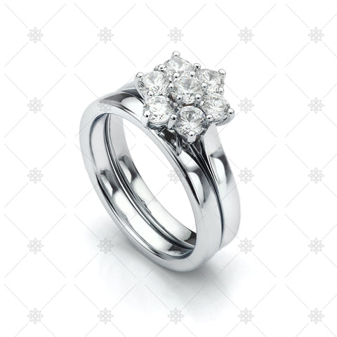 Daisy Engagement and Wedding ring set - LS1025