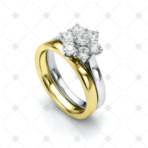 Daisy Engagement and Wedding ring set - LS1026