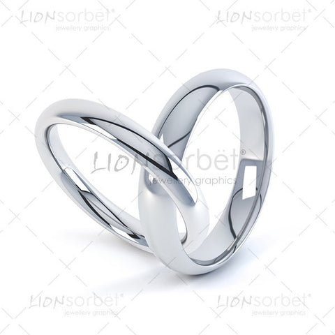 Linked wedding bands in white gold