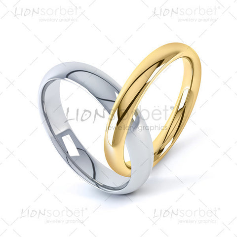 Heart shaped wedding rings image in yellow and white gold