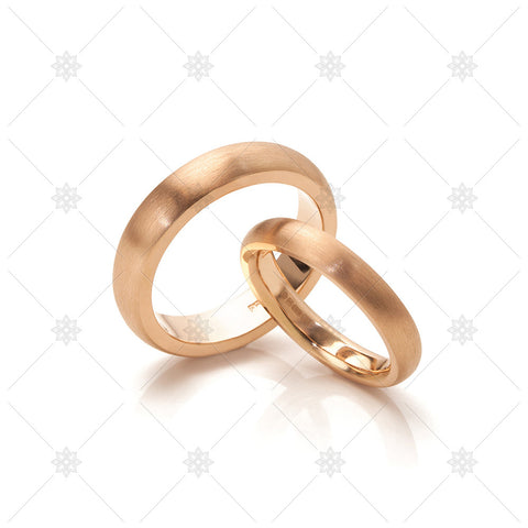 Brushed Rose Gold Wedding Rings - MJ1051