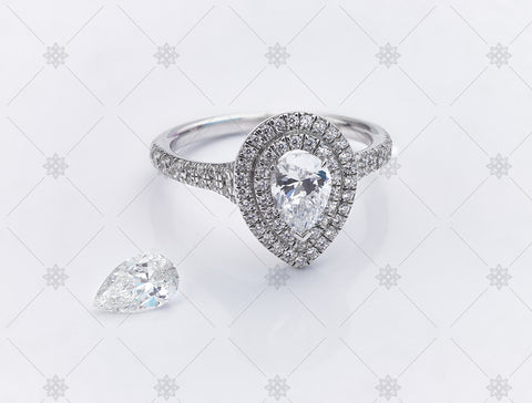 Pear diamond halo ring - MJ1066