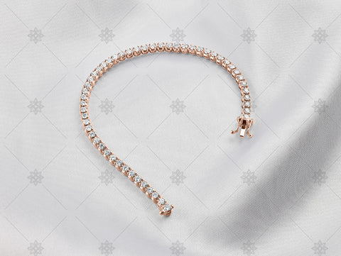 Rose Gold Tennis bracelet on white silk - NC1002