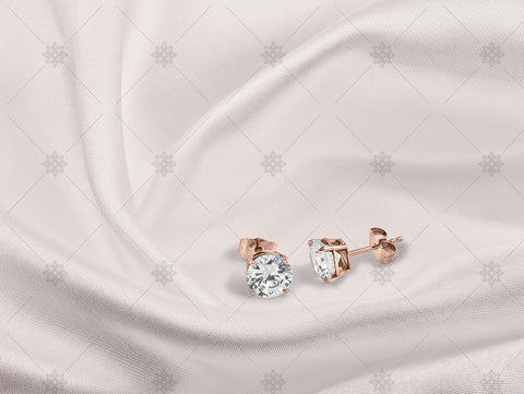 Rose Gold Stud earrings on white silk - NC1007
