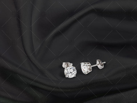 White Gold Stud earrings on black silk - NC1008