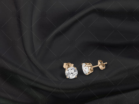Yellow Gold Stud earrings on black silk - NC1009